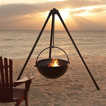 This may be my favorite cowboy portable outdoor fire pit, very cool for the beach. But I can see this being great for enjoying different nooks in a yard.