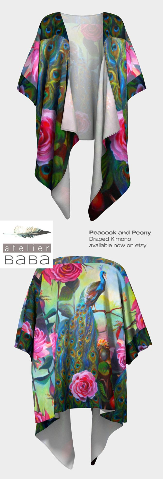 Peacock and Peony Draped Kimono by AtelierBaba - Your choice of silky knit or poly chiffon fabric - available on etsy