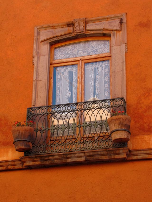 "Window at ""Casa de la Marquesa"" hotel in Downtown Queretaro."