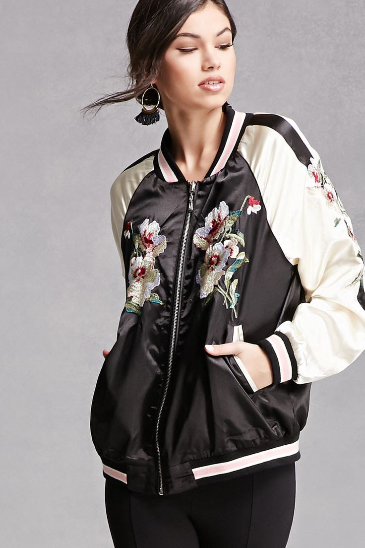 A satin bomber jacket featuring floral embroidery, zip-up front, contrast lining, a striped ribbed trim, contrast paneling on sleeves, and front slanted pockets. This is an independent brand and not a Forever 21 branded item.