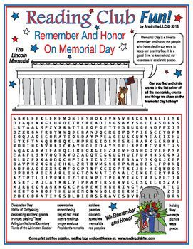 MEMORIAL DAY - Find and circle the memorials, events, and things we share on Memorial Day with this Word Search Puzzle.