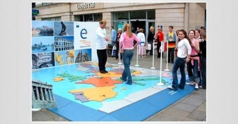 Unique and creative designed european election road show by fine form design studios