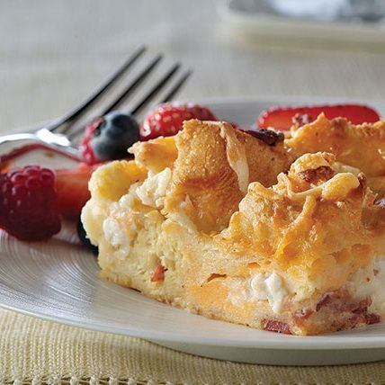 Three-Cheese Brunch Bake. This brunch bake might have caught your eye with the three-cheese part, but there's more to love—including make-ahead convenience. And bacon.