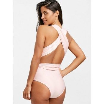 Plunging Neck Criss Cross Swimwear - LIGHT PINK 2XL