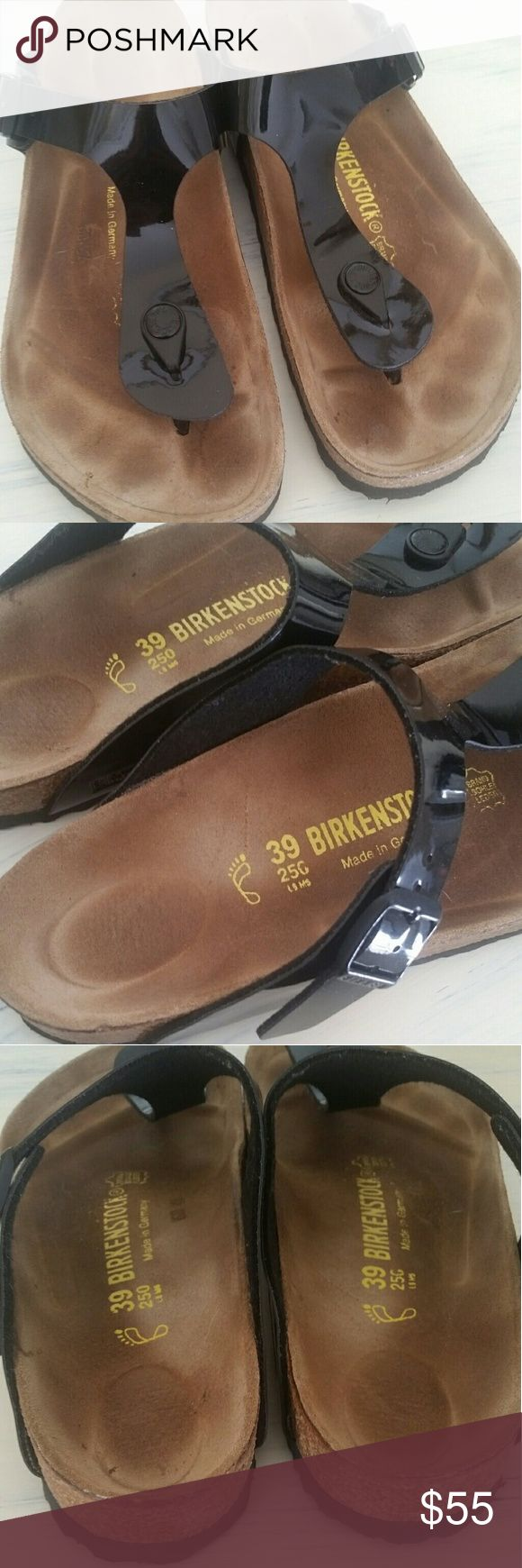 *sold*Patent leather gizeh birkenstocks Euc! Light staining on footbed but otherwise in like new condition.  These are the gizeh and in a patent leather. Any questions please ask.  I don't have original box. These are a 39 and I believe by birkenstock it's a size 8. I'm an 8.5/9 and these fit me great. These are also a regular not narrow. Please no offers, my price is absolutely fair. Item is cross posted. Birkenstock Shoes Sandals