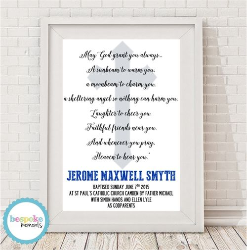 Cross Christening Print by Bespoke Moments. Worldwide Shipping Available.