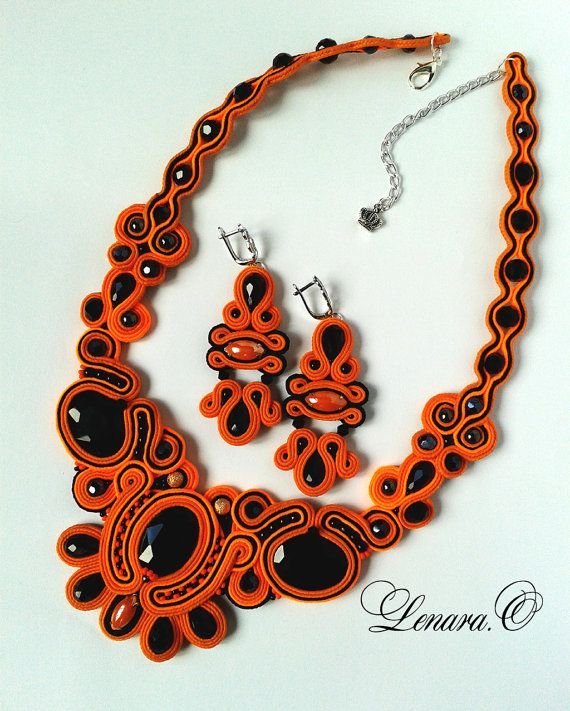 Soutache set orange black colors. Soutache от LENARAOSMANSoutache