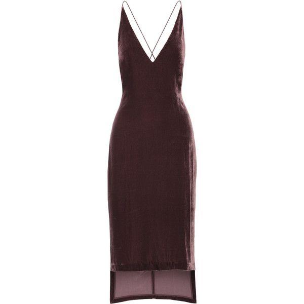 Dion Lee Asymmetric velvet midi dress (£520) ❤ liked on Polyvore featuring dresses, short dresses, vestidos, asymmetrical cocktail dress, midi dress, short front long back dress, spaghetti strap dress and mini dress