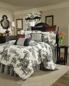 Black & Ivory Toile Bedding Comforter Set -. A classic black and ivory toile bedding collection takes a fresh new approach with a leaf print accent coordinate with ebony piping detail. ..