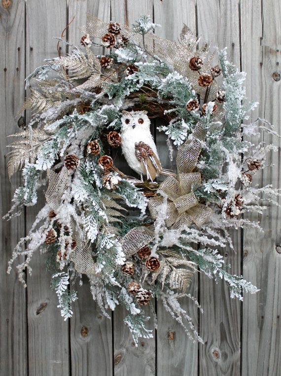 Beautiful Snowy Owl Winter and Christmas Wreath by FloralsFromHome, $198.00