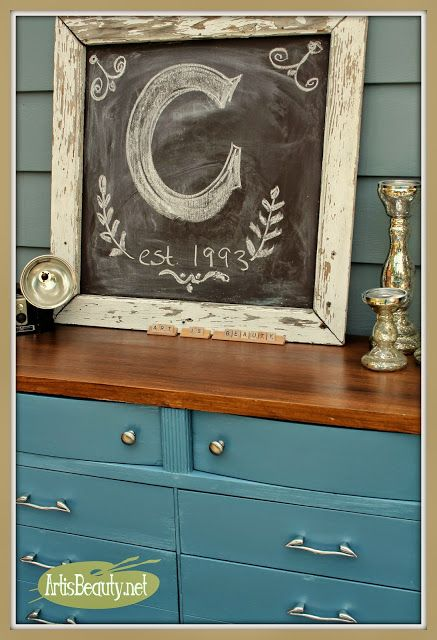 ART IS BEAUTY: From Blonde to Brunette! French Blue Dresser Makeover