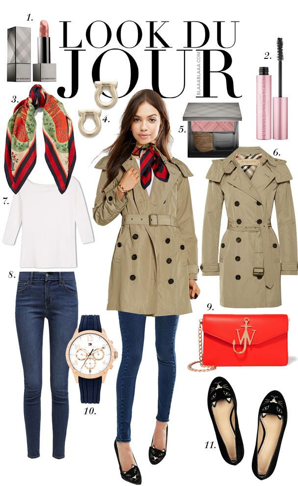 Look Du Jour: Sculpt du nur!. White top+skinny jeans+black cat ballerinas+beige trenchcoat+printed scarf+red shoulder bag. Spring outfit 2016