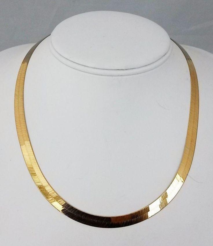 "LLJMC Leslies 14kt Italy Gold Herringbone Chain Necklace 7mmW 18"" 15.4 GR #Leslies #Chain"