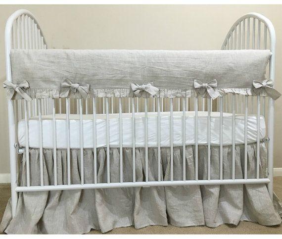 Natural linen Crib Rail Guard with linen Crib skirt