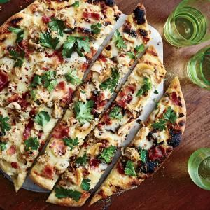 Grilled White Pizza with Clams and Bacon Recipe - sounds good but I'll need to substitute for the clams and bacon