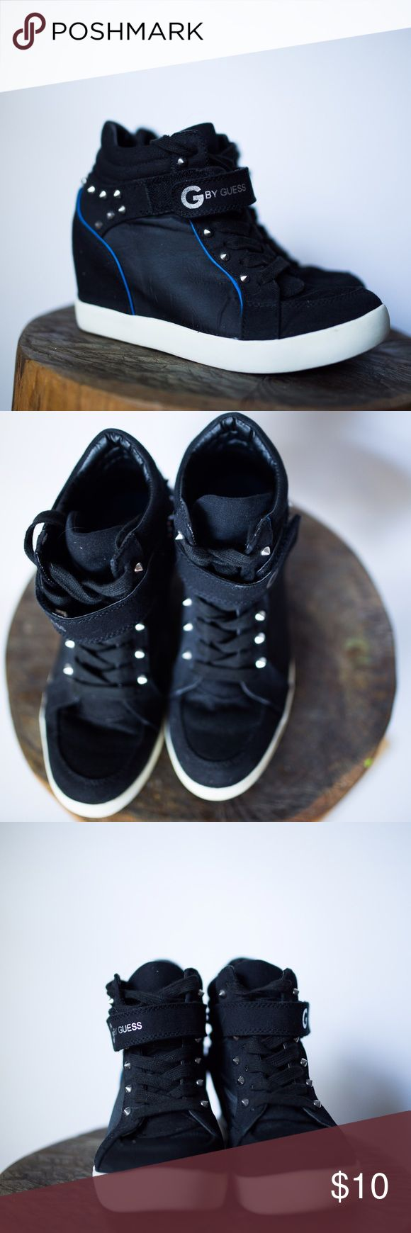 G by Guess black high top sneakers Black high top wedge sneakers with spike detail. G by Guess Shoes Combat & Moto Boots