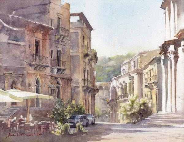 Мишель Орловски - Шикли, Сицилия, акварели Италии