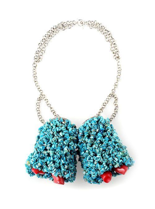 Daniel Kruger-Necklace: Untitled 2003Turquoise fragments, mountain coral, silver.Photo by Udo w. Beier