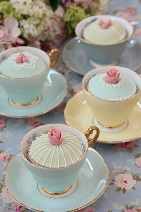 Decadent cupcakes in vintage tea cups