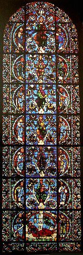 The oldest complete Tree of Jesse window is in Chartres Cathedral, 1145.