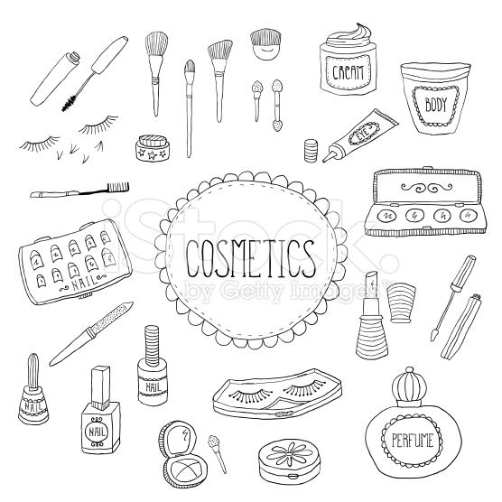 Beauty and cosmetics icons doodles royalty-free stock vector art
