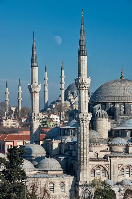 The Sehzade Mosque with the Suleymaniye Mosque in the background, Istanbul, Turkey