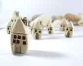 Christmasinjuly - Rustic Beach cottage A set of tiny houses - miniature ceramic houses Home decoration Collection  Little houses tbteam: Little House