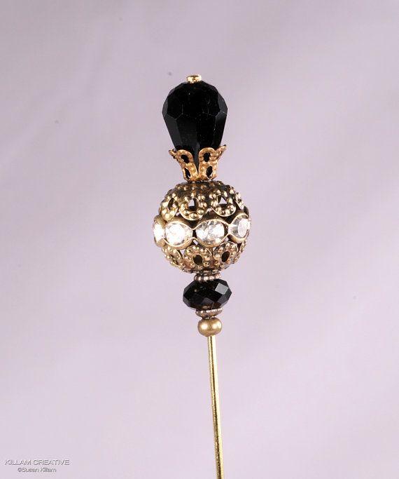 Elegant Black and Gold Stick Pin, 3 Inch Hat Pin, Scarf Pin, Hijab Pin KC0358 via Etsy