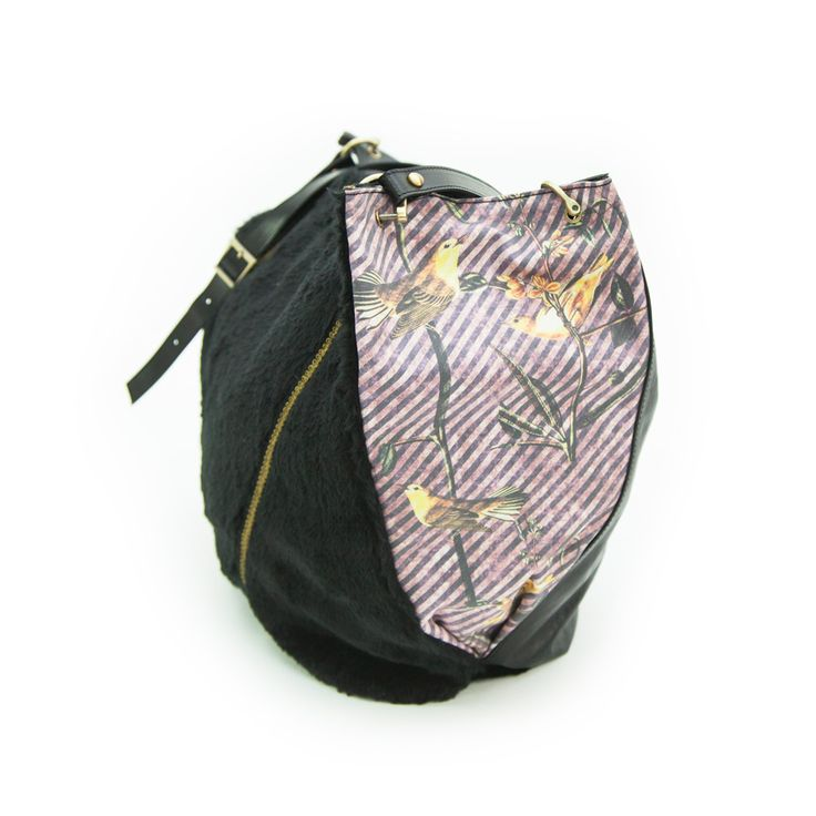 "Stripes and yellow birds love! ""sister"" shoulder bag, shop online at www.efidolcini.com"
