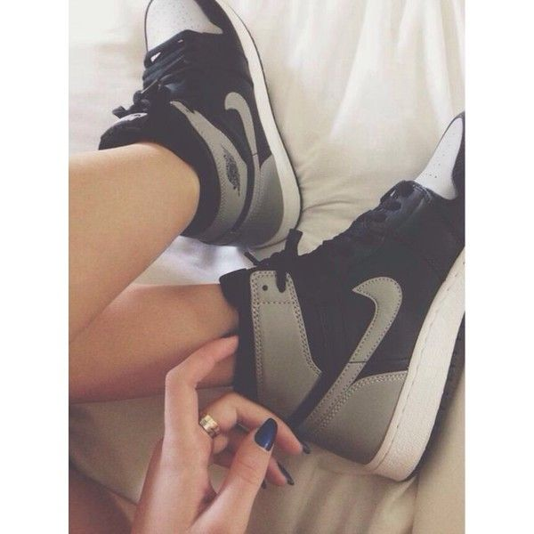 Shoes: nikes high top sneakers black grey sneakers nike nike for women... ❤ liked on Polyvore featuring shoes, sneakers, black shoes, black high top shoes, nike trainers, black hi tops and black high tops