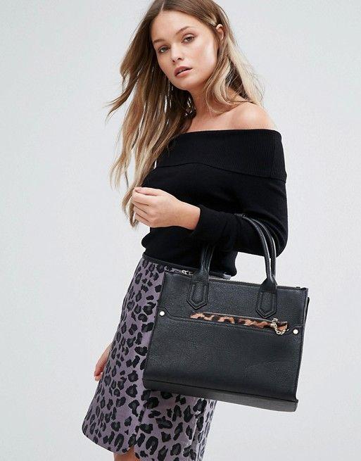 asos - oasis tote bag with detachable leopard purse