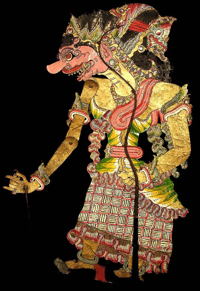 BALINESE: ANTIQUE HAND PAINTED HAND CUT LEATHER SHADOW PUPPET #4. WITH HAND CARVED ANIMAL HORN CONTROL STRUTS