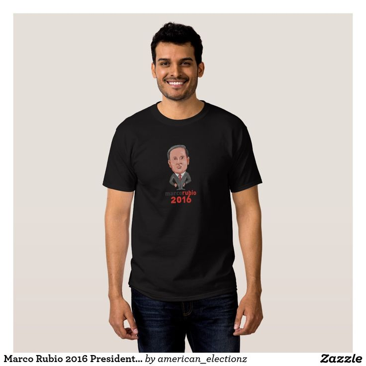 Marco Rubio 2016 President Caricature Tee Shirt. American elections men's t-shirt with a caricature illustration showing Marco Rubio, an American senator, politician and Republican 2016 presidential candidate standing with words Marco Rubio 2016 done in cartoon style. #Rubio2016 #republican #americanelections #elections #vote2016 #election2016