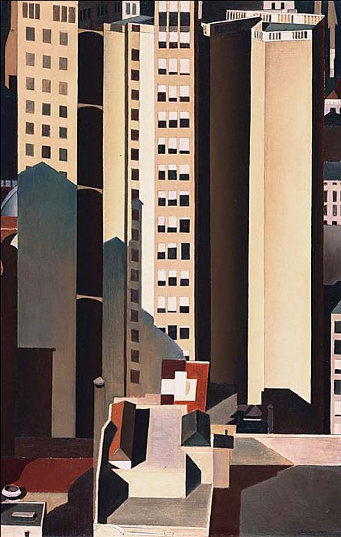Charles Sheeler, Skyscrapers, 1922  From the Phillips Collection:  Skyscrapers, 1920s precisionist aesthetic