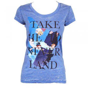 Mighty Fine Womens Peter Pan Neverland Burnout T Shirt Blue