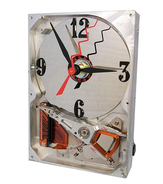 Recycled Computer Hard Drive now a Clock with Circuit by TECOART, $37.00