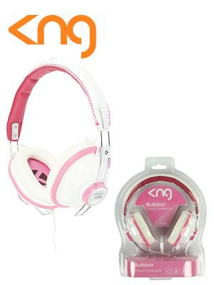 KNG Bulldozr Chaos Construction Pink Headphones KNG Bulldozr Chaos Construction Pink Headphones. Premium head phones by Konig. 44mm speakers neodymium magnets. http://www.MightGet.com/february-2017-3/kng-bulldozr-chaos-construction-pink-headphones.asp
