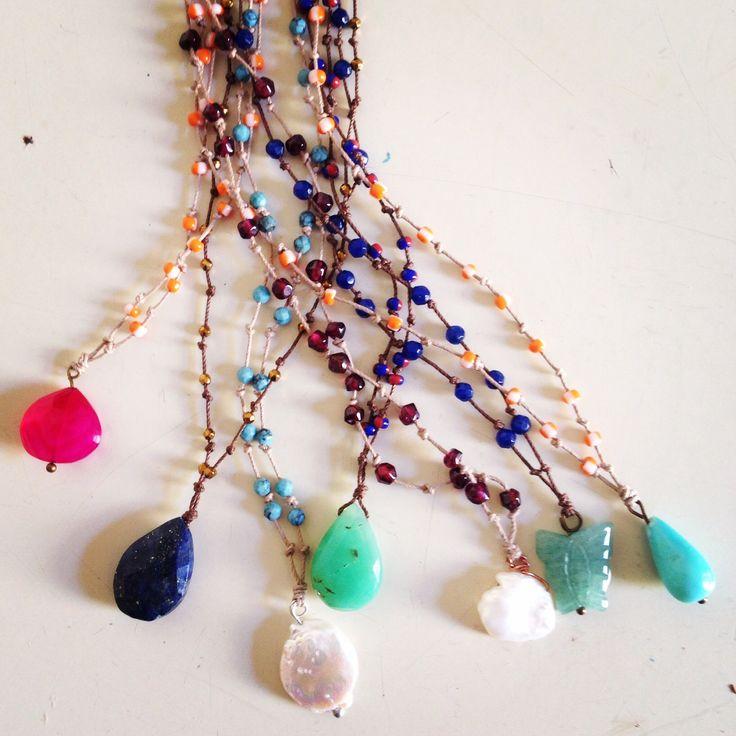 necklaces gemstone handmade chrysoprase chalcedony pearl jade rosary boho bijoux