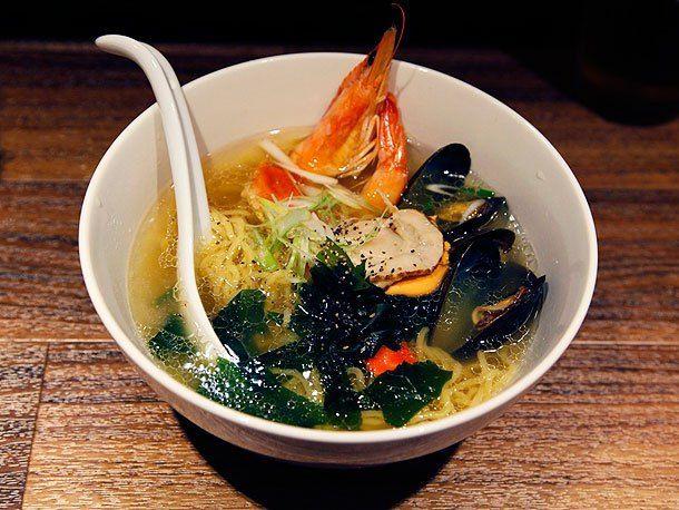 Shrimp, scalliops, and mussels in a bowl of ramen [Photograph: J. Kenji Lopez-Alt]
