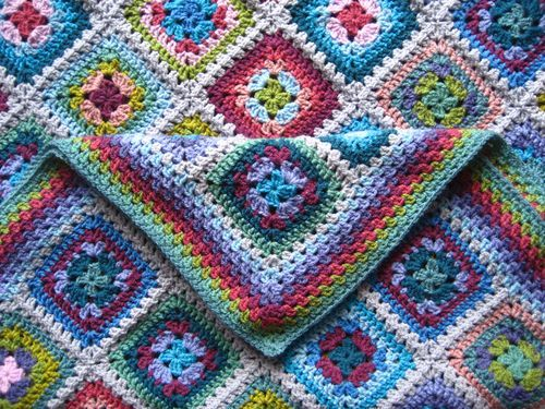 Attic24: Harmony Blanket - free crochet pattern by Lucy. Includes square motif pattern, joining tutorial and edging, plus colour list and layout diagram.