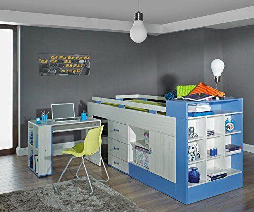 kinderbett hochbett mit bettkasten und schreibtisch ein tolles kinderbett fr jungen blau - Coolste Etagenbetten Mit Schreibtisch