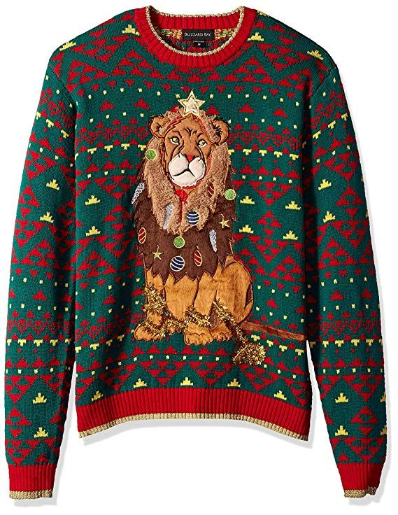 Blizzard Bay Boys Long Sleeve Crew Neck Decked Out Lion Ugly Christmas Sweater