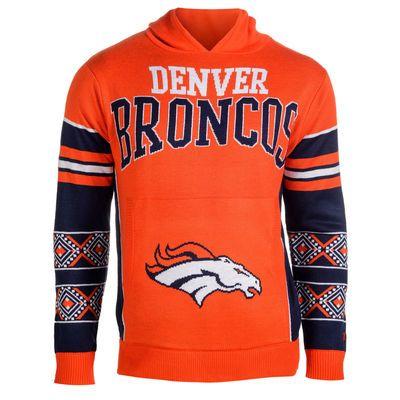 Men's Klew Orange Denver Broncos Big Logo Sweater Pullover Hoodie - Official Denver Broncos Shop