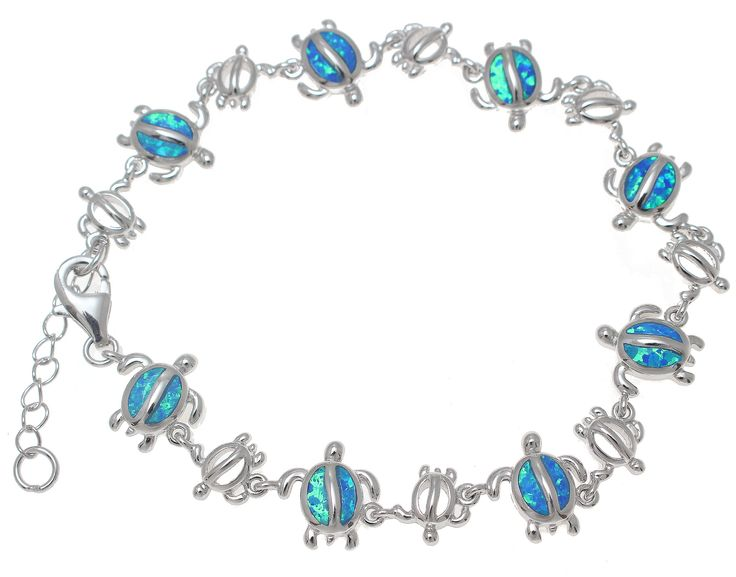 """Bracelet length: 7"""" + 2"""" extension (Adjustable between 7"""" to 9"""") Opal Honu Size: 11mm x 11mm Silver Honu Size: 8mm x 8mm Weight: approx.14.5 grams Metal: 925 sterling silver Stamp: 925 Coating: Rhodiu"""