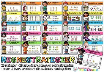 *BOKML* Regnestrategier er like viktig  ha fokus p som lesestrategier! Med enkle, visuelle plakater, samt arbeidsark som ver hver regnestrategi, fr du her en pakke som kan brukes p hele barnetrinnet. I tillegg til arbeidsarkene, fr du med maler slik at du enkelt kan lage egne, tilsvarende veark.