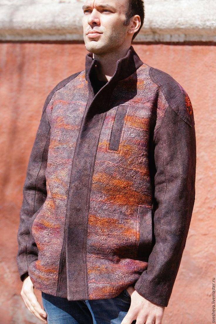 Купить Куртка мужская Скорпион - абстрактный, мужская одежда, куртка из войлока, купить подарок, Валяние