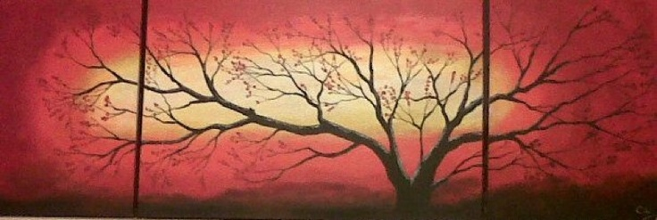 Tree red sunset acrylic on canvas