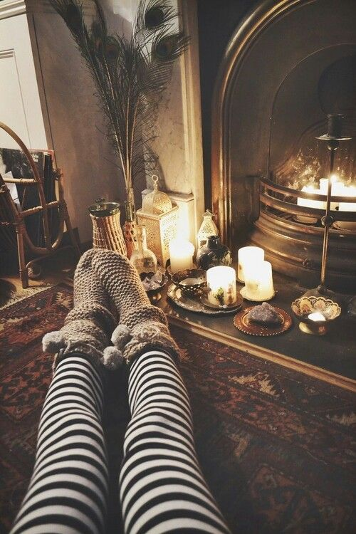 A warm fire an warm socks perfect for a snowy winter day!