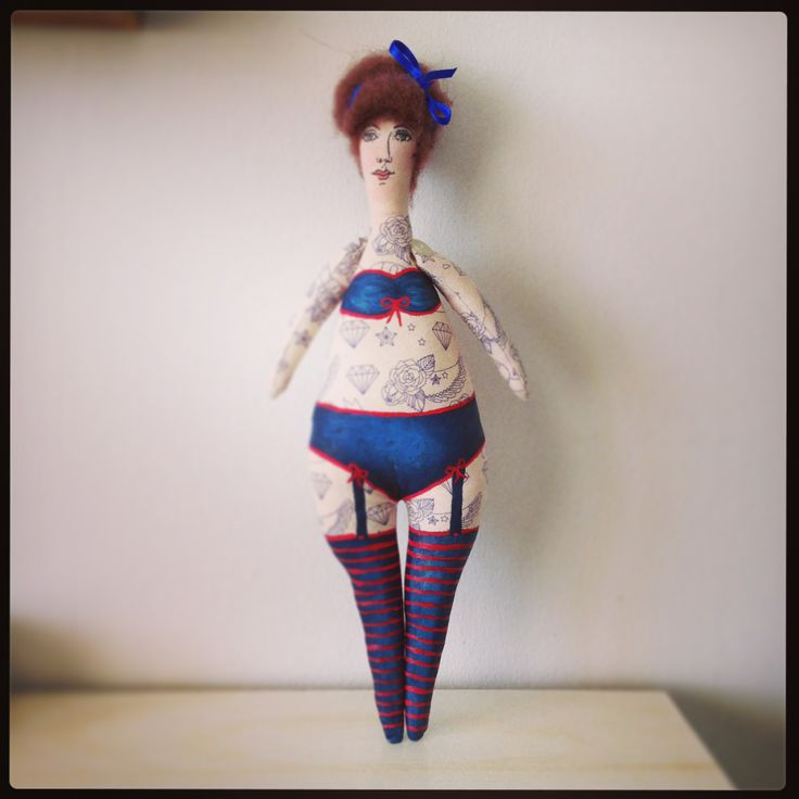 Hand Made Girl #sewing #doll #dolls #tattoo #tattoogirl #dollart #painting