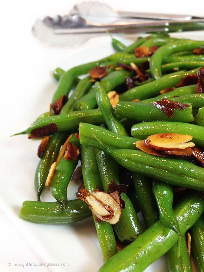 Brown Butter Toasted Almond Green Beans. Steamed green beans with a little snap, drenched in brown butter, toasted almonds. Sprinkled with sea salt.